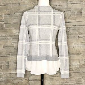 Camber & Grace grey plaid sweater w/faux blouse